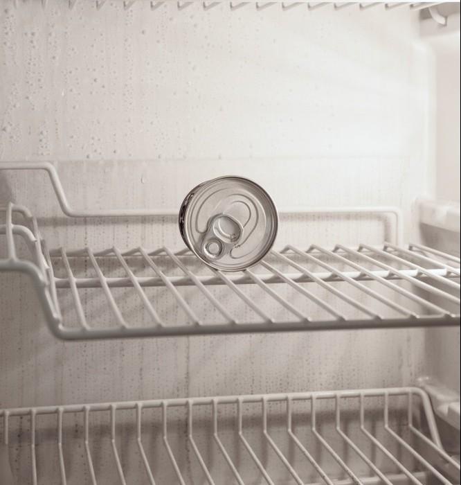 Single can of soda pop resting on a top refrigerator shelf.