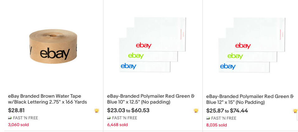 eBay branded supplies