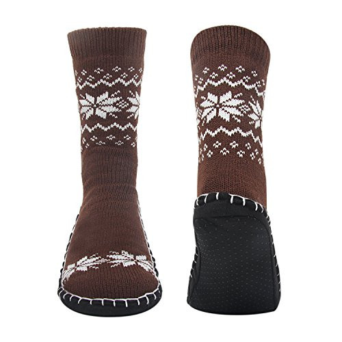 Vihir Men's Winter Non-Skid Slipper Socks