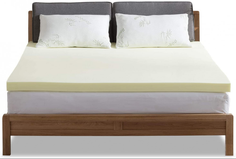 NOFFA Bamboo Mattress Topper UK Double, 2' Memory Foam Mattress Topper Includes Removable Cover with Adjustable Straps