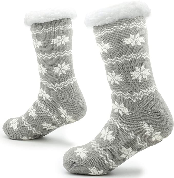 Non Slip Sherpa Wool Knitted Slipper Socks for Men