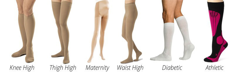 Different styles of compression socks and stockings