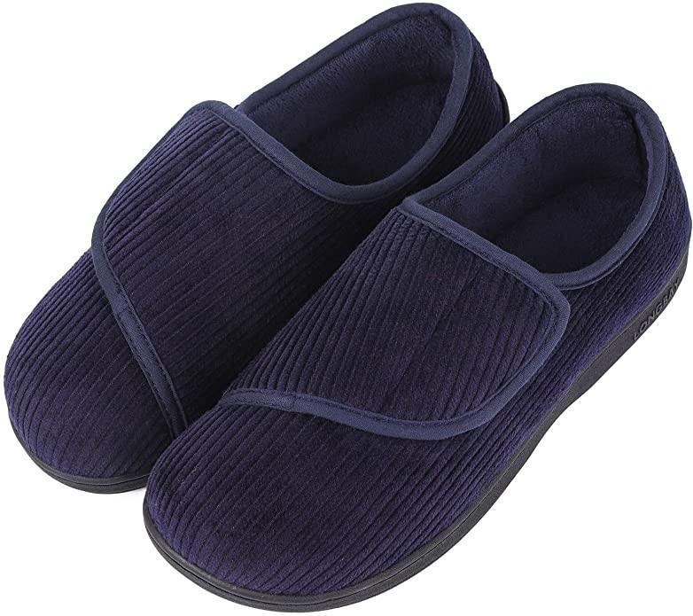 Longbay Men's Memory Foam Diabetic Slippers