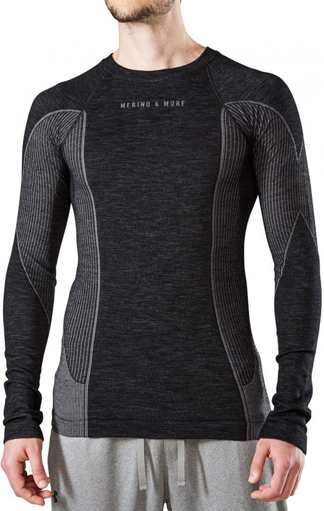 Merino & More Men's Ski Base Layer - Functional Long Sleeve Wool Thermal Top