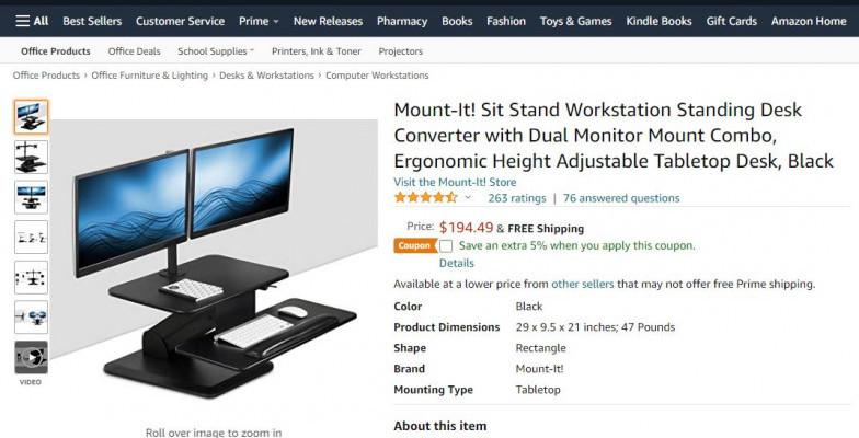 Mount-It Sit Stand Workstation Standing Desk Converter