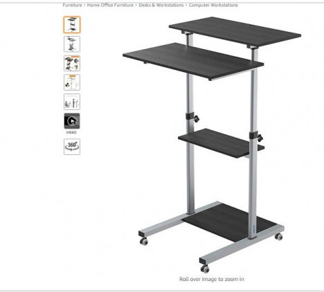 BONTEC Mobile Workstation Compact Stand-up Computer Presentation Cart