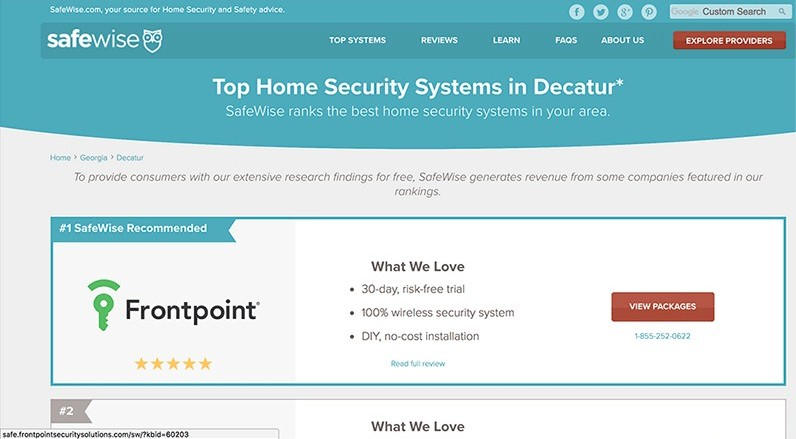 Safewise is a company that makes money by promoting home security systems using affiliate programs