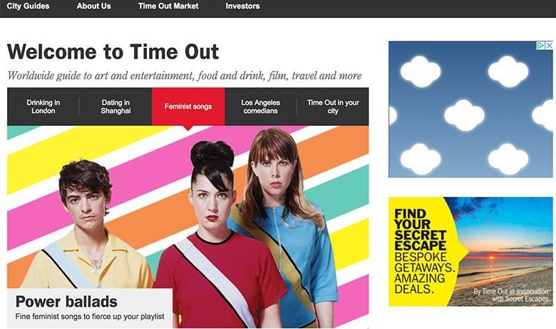 time out sells digital ad space on the right side example