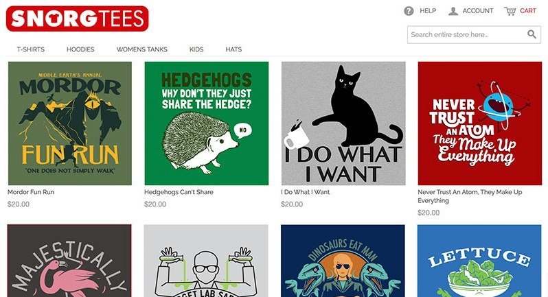 SnorgTees.com sells own tshirt products to make money