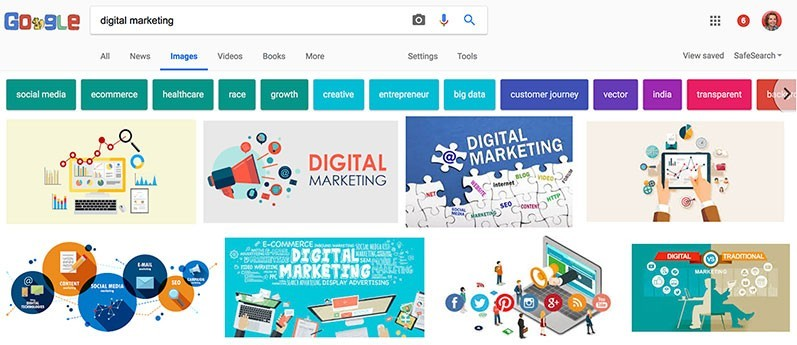 Image search results for digital marketing in Google