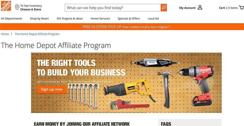 make money with Home Depot Affiliate Program