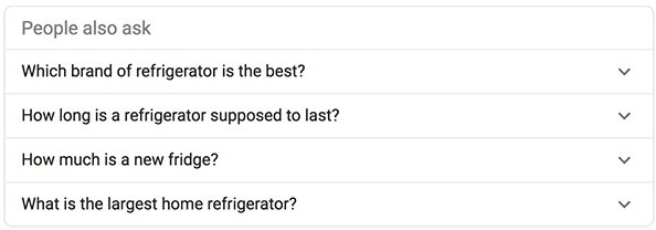 Questions target audience ask about refrigerators for niche