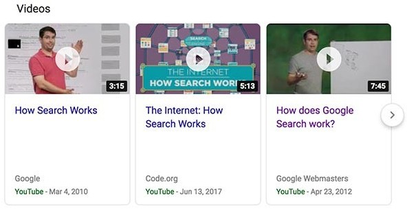 Google Videos search engine results