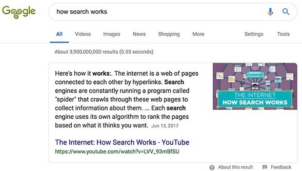 Google search result featured snippet