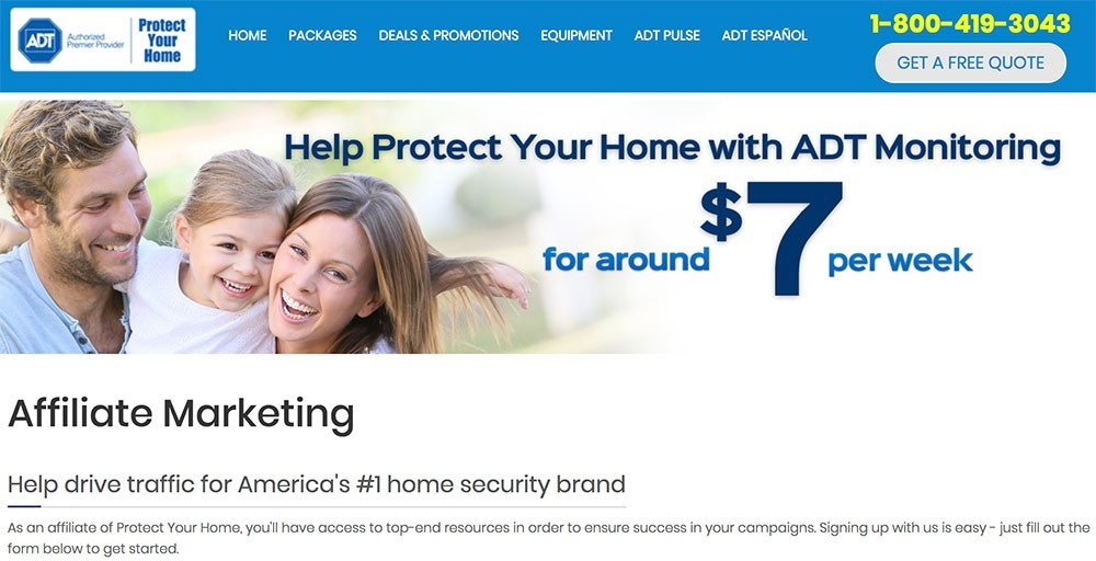 Make money online by referring ADT home security services