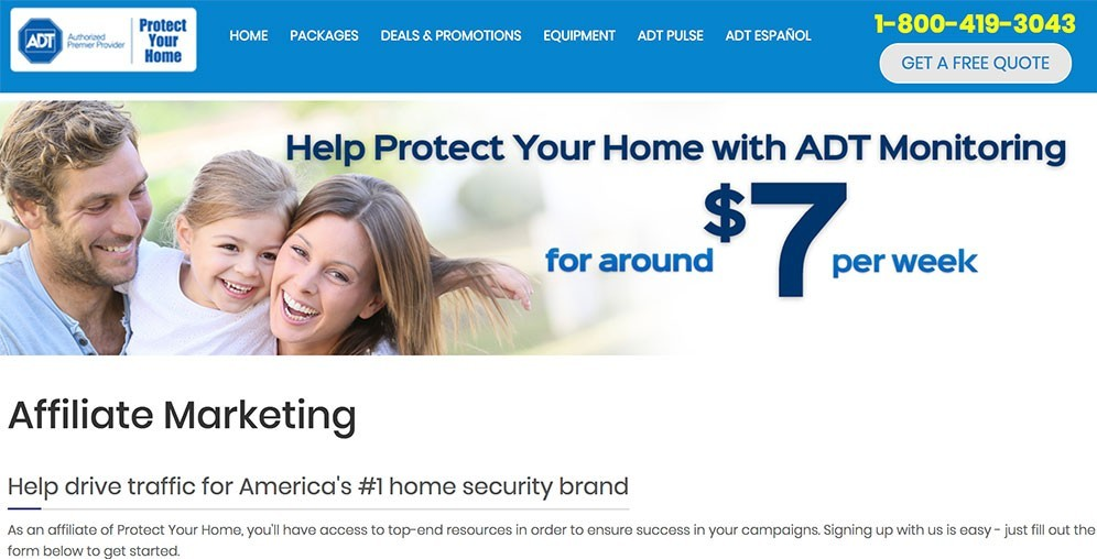 Protech Your Home promotes the ADT home security affiliate marketing program