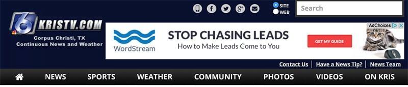 KrisTV.com website example with google ads