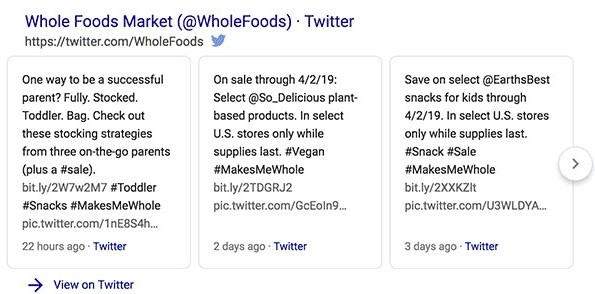 Google Twitter Tweets search results