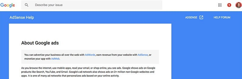 Google AdSense about Google ads disclaimer