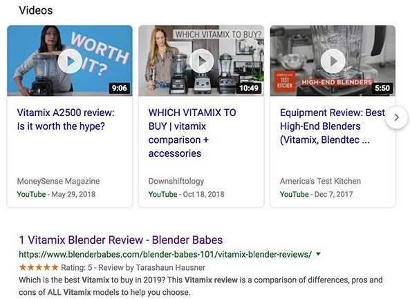 Vitamix review search engine optimization