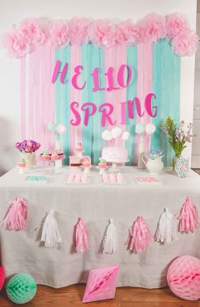spring party dessert table