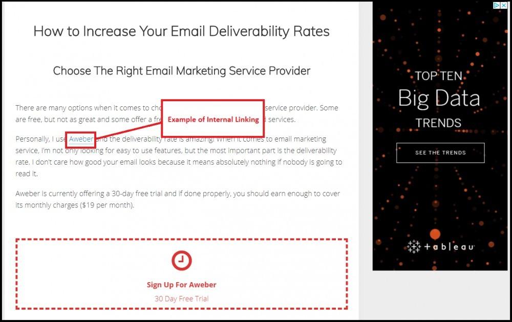 internal link for your website