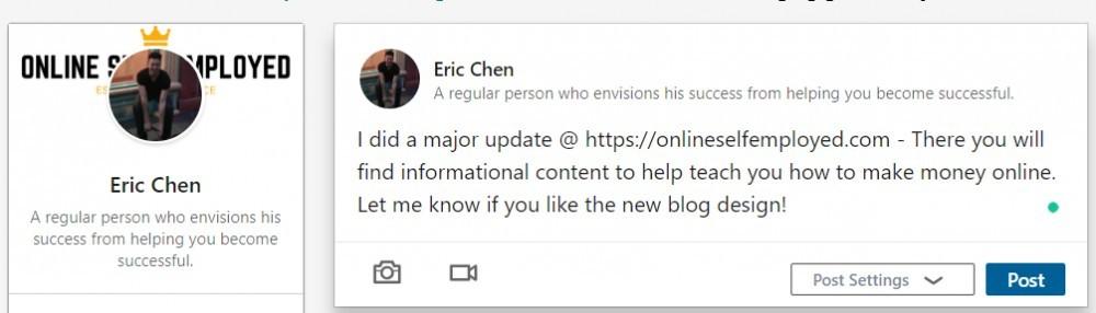 linkedin post an update