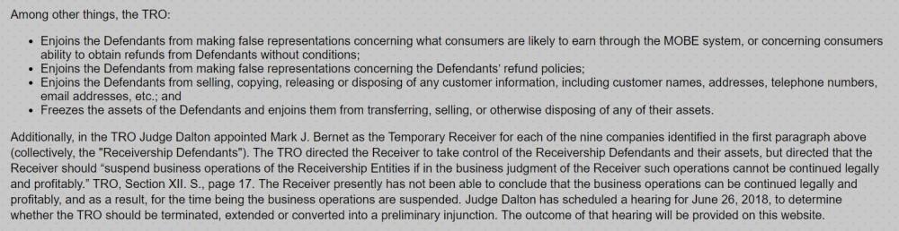 MOBE Temporary Restraining Order
