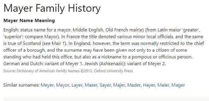 Mayer Family History