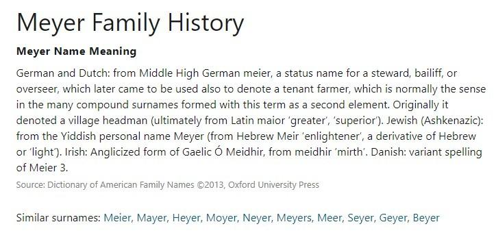 Meyer Family History