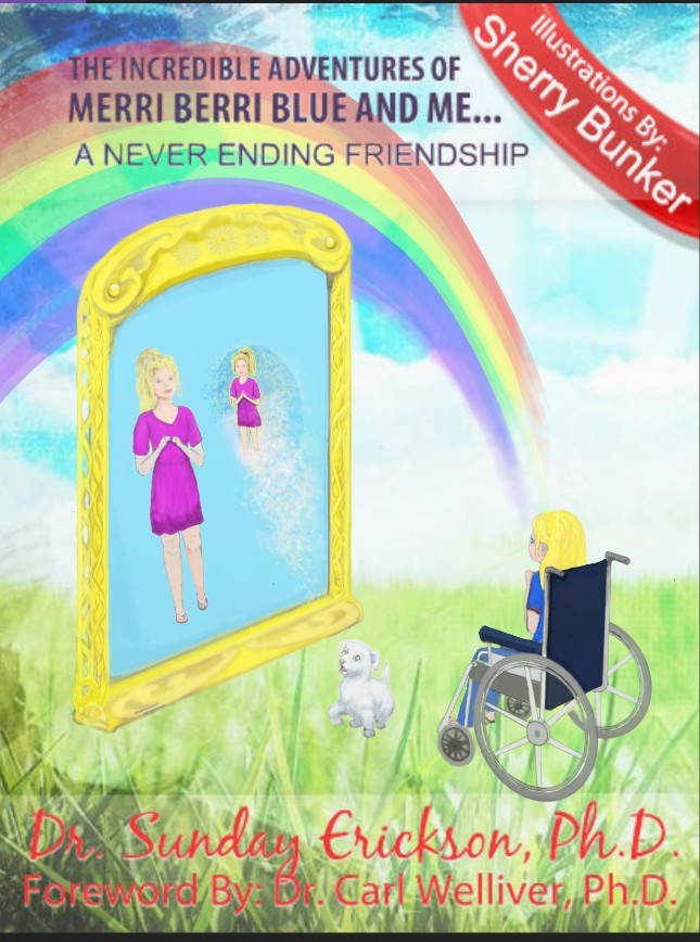 Adding a rainbow in the book cover background The Incredible Adventures of Merri Berri Blue and Me