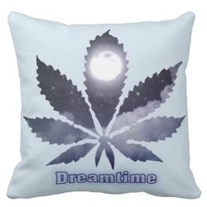 Dreamtime throw pillow cannabis leaf