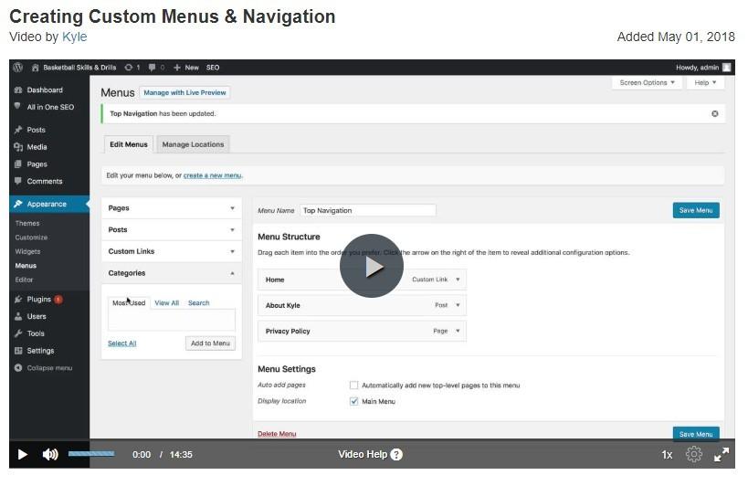 how to create website menus