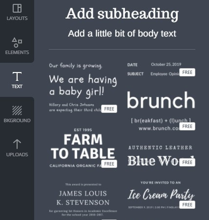 Text on Canva