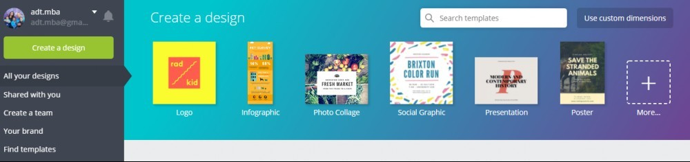 Canva main page