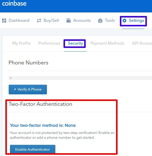 Coinbase-Two Factor Authentication