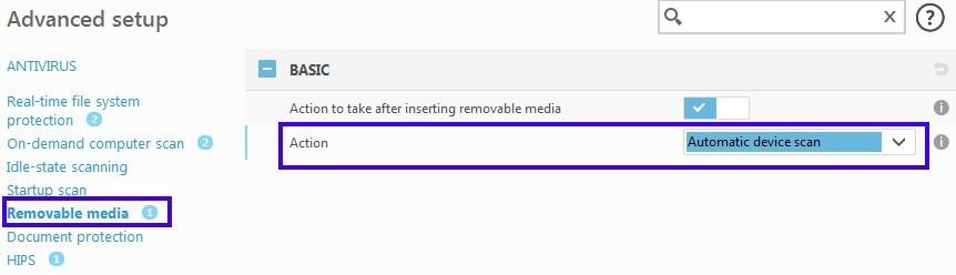 ESET NOD32 Antivirus Removable media