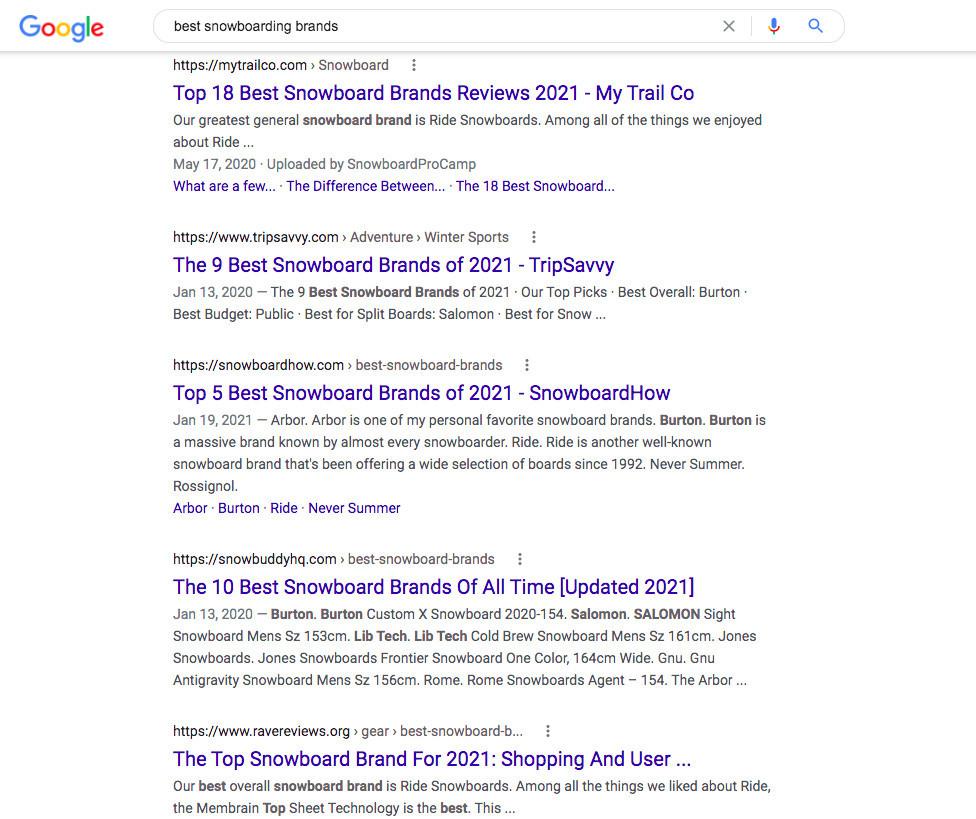 Seo Keyword Research example looking up the keyword word best snowboard pants