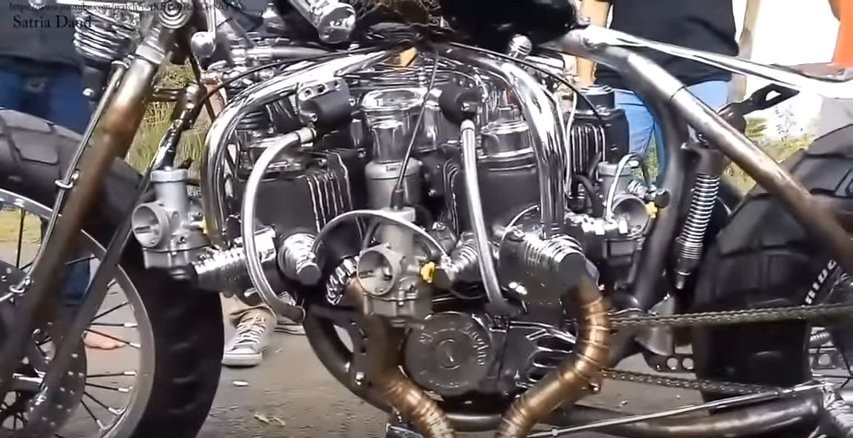 Horizontal Motorcycle Radial Engine