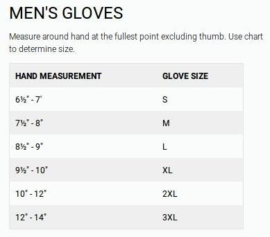 Firstgear Mens Glove Size Guide