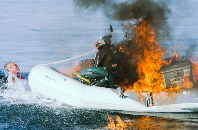 Motorcycle Boat on Fire