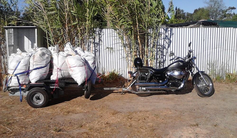Honda Motorbike Towing Horse Manure