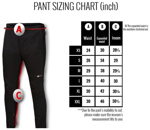Heated Venture Pant Liner Size Chart