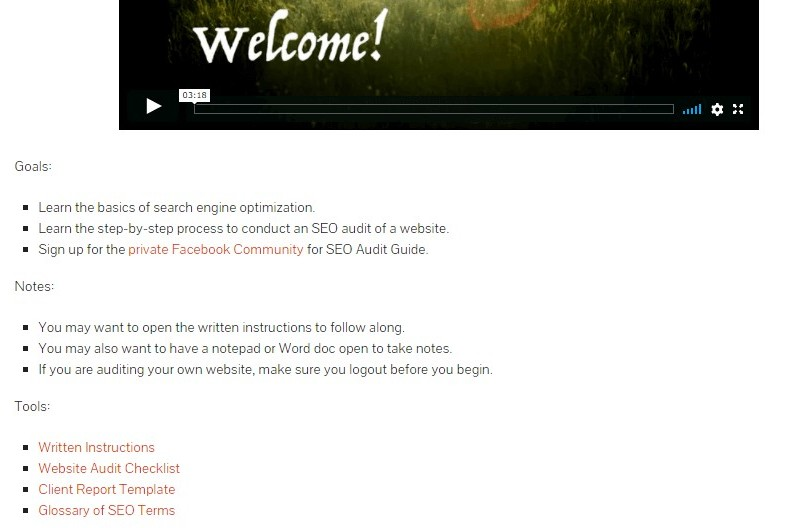 The welcome page and introduction to the course