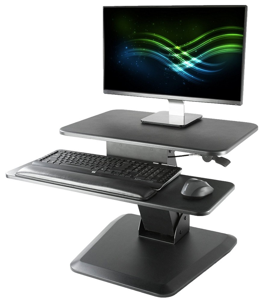 VIVO Black Sit-Stand Desktop Workstation