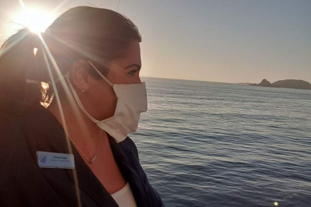masked crew member