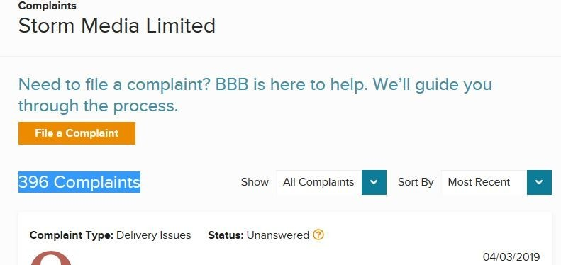 BBB Complaints Against Media Storm Limited