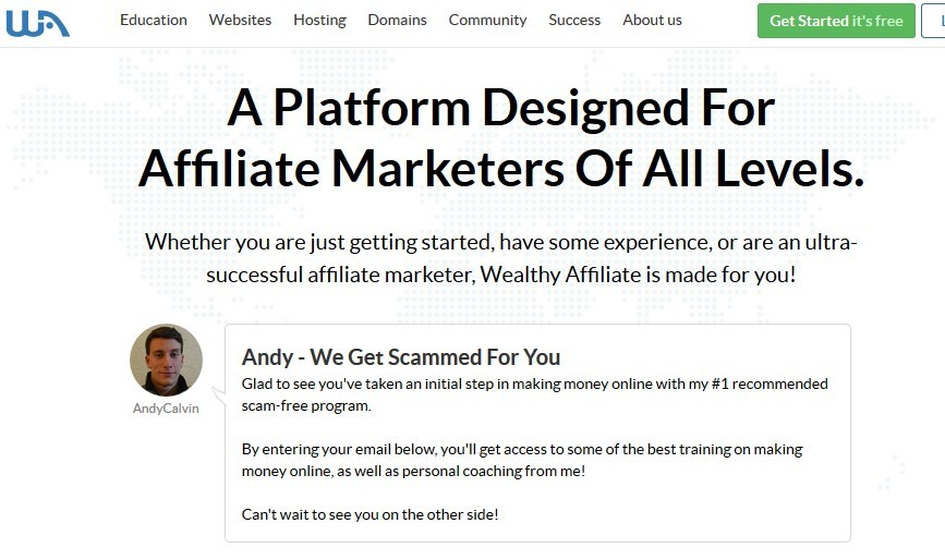 Myself on Wealthy Affiliate