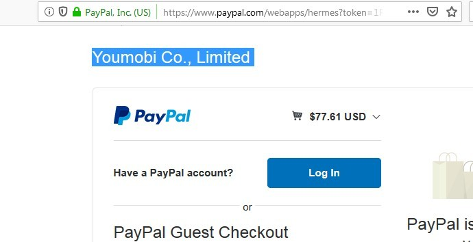 YouMobi Co, Limited On PayPal