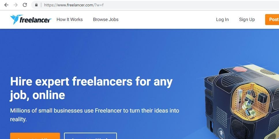 Freelancer.com's Main Page